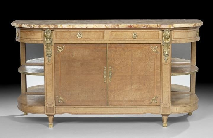 49: Louis XVI-Style Fruitwood Marble-Top Cabinet