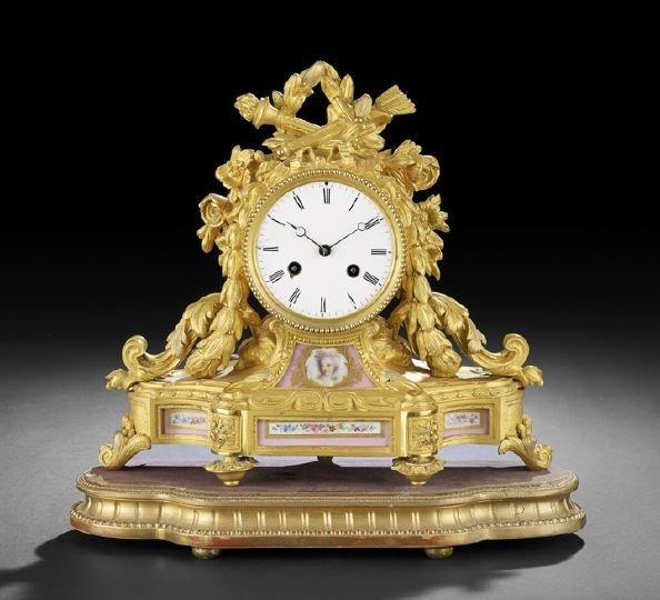 51: Gilt-Bronze and Porcelain Mantle Clock