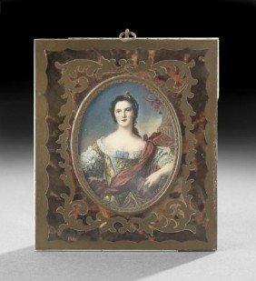 French Portrait Miniature Of Madame De Montespane