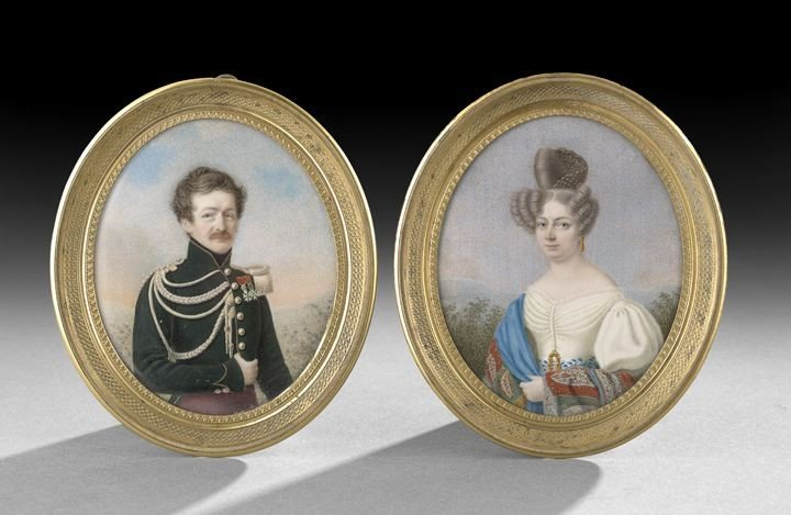 57: Pair of Miniatures a Russian Officer and His Wife