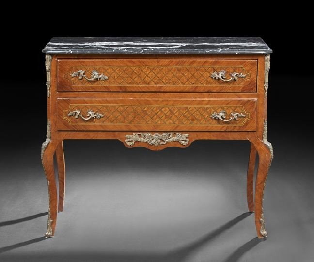 66: Italian Kingwood and Parquetry Marble-Top Commode