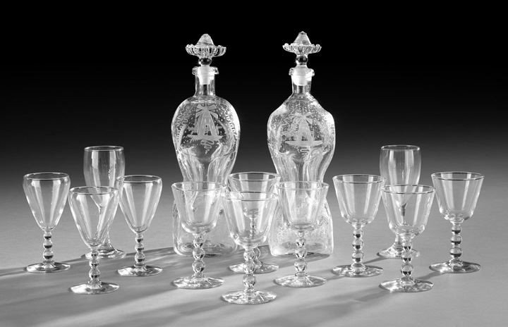 67: Pair of Decanters with Twelve Pieces of Stemware