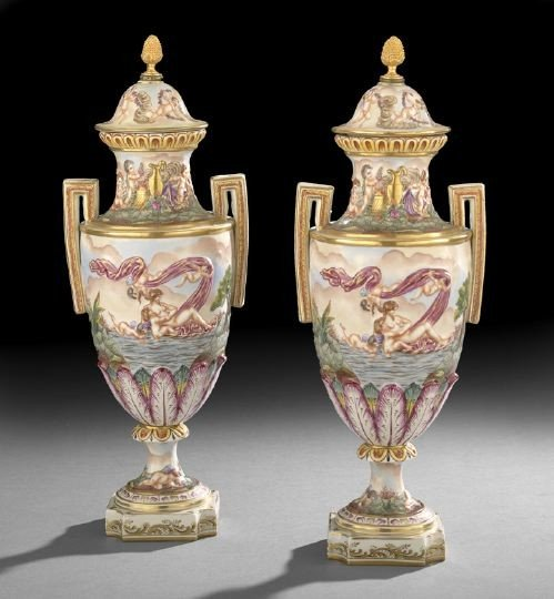 70: Pair of Capodimonte Brass-Mounted Garniture Vases