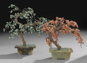 Two Chinese Mineral Trees In Serpentine Pots