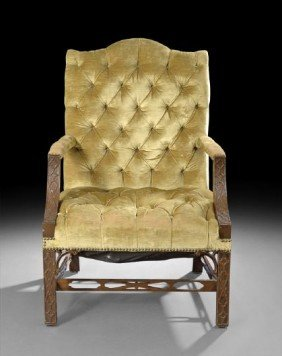 George III-Style Mahogany Gainsborough Chair