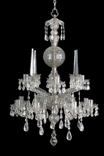 190: Georgian Cut-Glass Rococo Chandelier