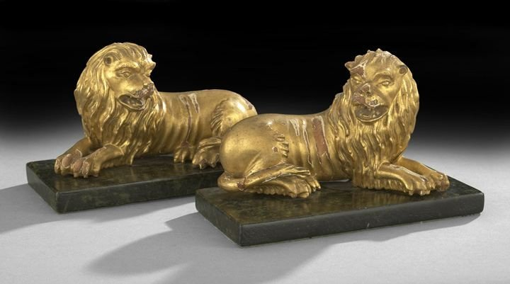 511: Pair of Napoleon III Carved and Gilded Lions