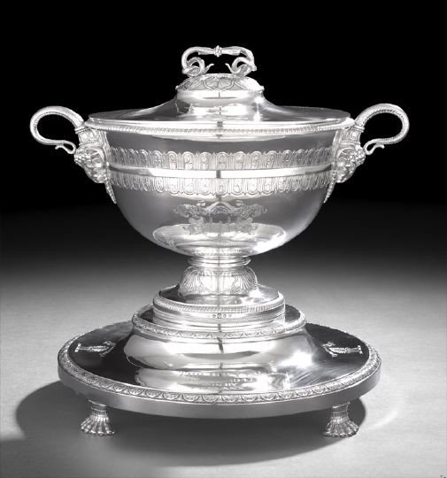 577: George III Sterling Neoclassical Tureen-on-Stand