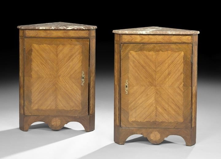 682: Pair of Louis XVI-Style Marble-Top Encoignures