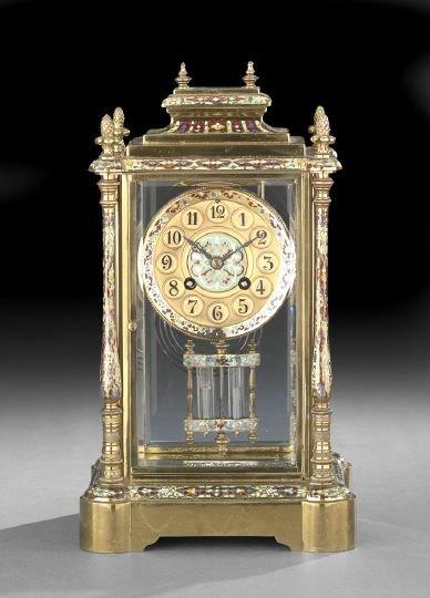684: French Champleve Enamel Mantel Clock