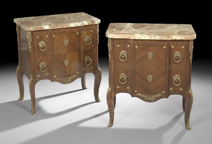 685: Pair of Louis XV/XVI-Style Marble-Top Commodes
