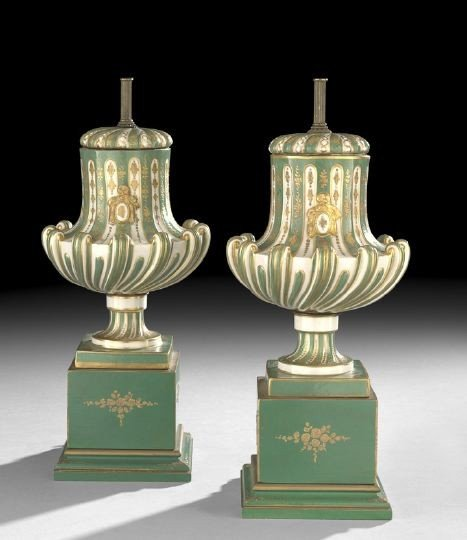 689: Pair of Sevres-Style Urns Mounted as Lamps