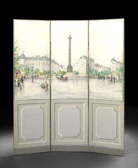 692: French Polychrome Three-Fold Screen