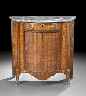 Dutch Kingwood Marquetry And Marble-Top Cabinet