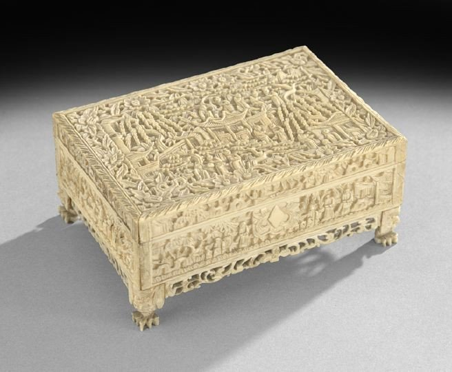 750: Chinese Export Carved Ivory Casket