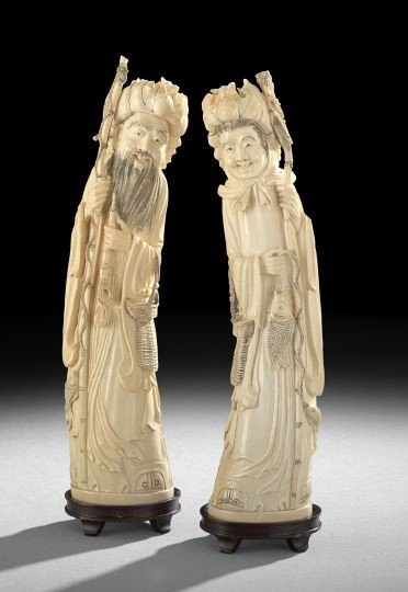 752: Pair of Chinese Carved Ivory Figures of Deities