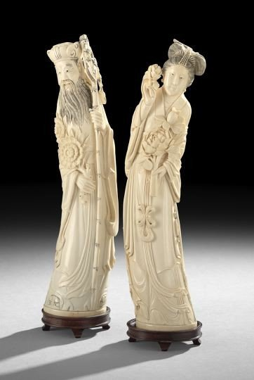 754: Pair of Chinese Carved Ivory Figures