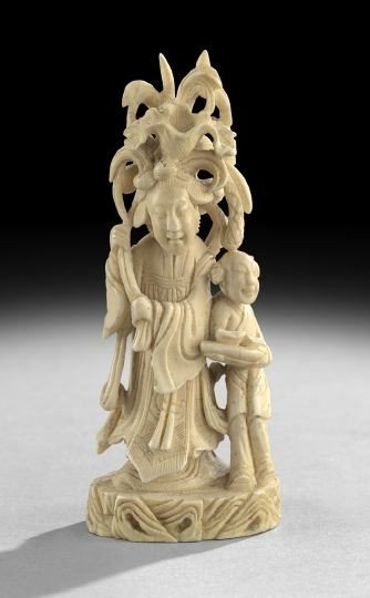 755: Chinese Carved Ivory Figure of a Female Deity