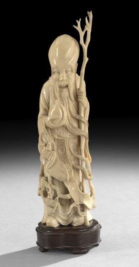 757: Chinese Ivory Figure of the God of Longevity