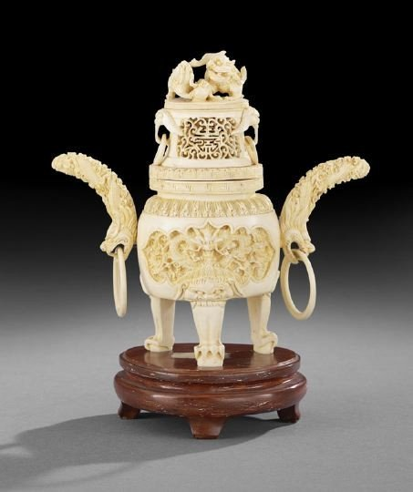 758: Heavily Carved Chinese Ivory Koro on Stand