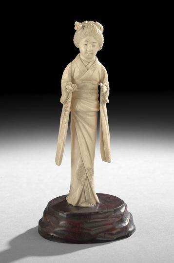 761: Japanese Carved Ivory Figure of a Geisha