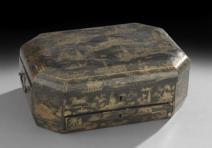 766: Chinese Export Lacquer Sewing Box
