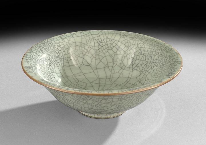768: Chinese Flared Celadon Crackleware Bowl