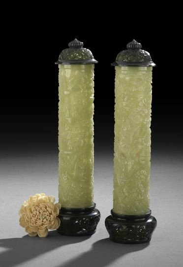 772: Fine Pair Chinese Carved Jade Joss Stick Holders