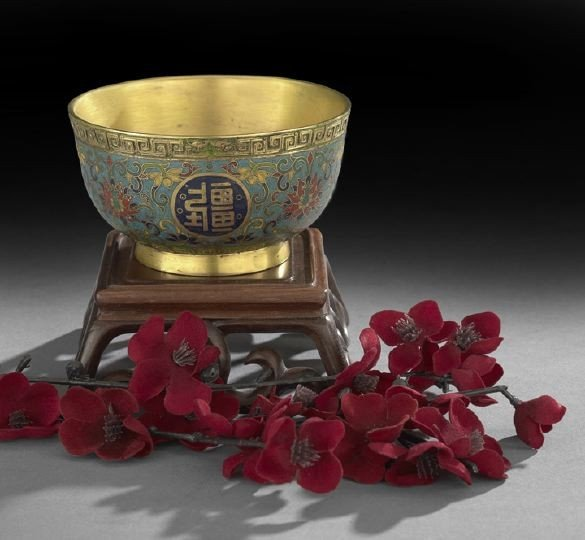 893: Fine Chinese Cloisonne Altar Offering Bowl