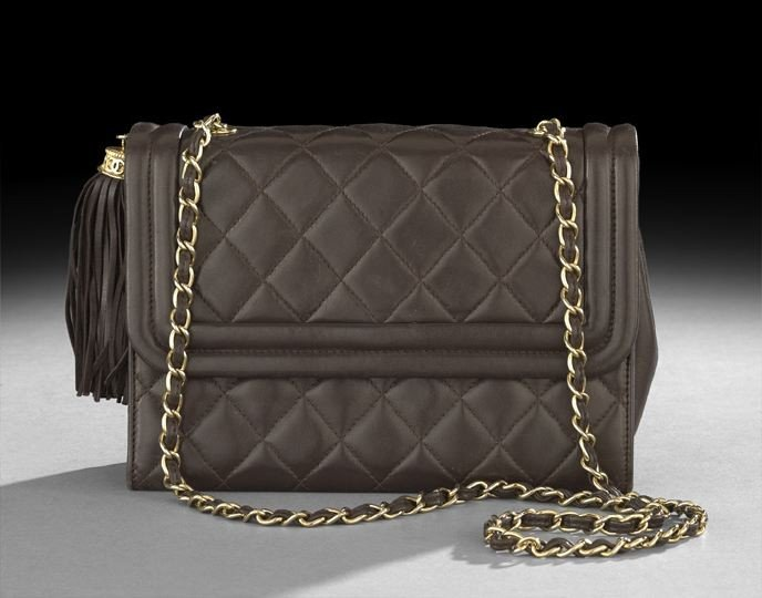 1323: Chanel Brown Quilted Lambskin Shoulder Bag