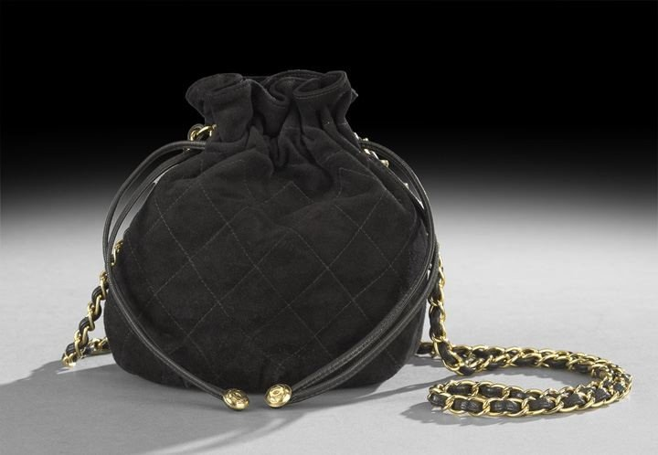 1324: Chanel Black Quilted Suede Shoulder Pouch