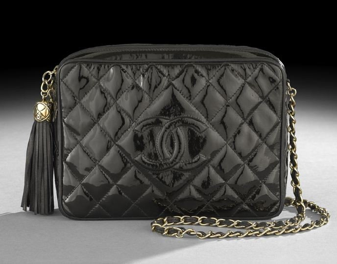 1325: Chanel Black Quilted Patent Leather Camera Bag