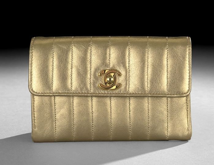 1326: Chanel, Paris, Gold Quilted Lambskin Evening Bag