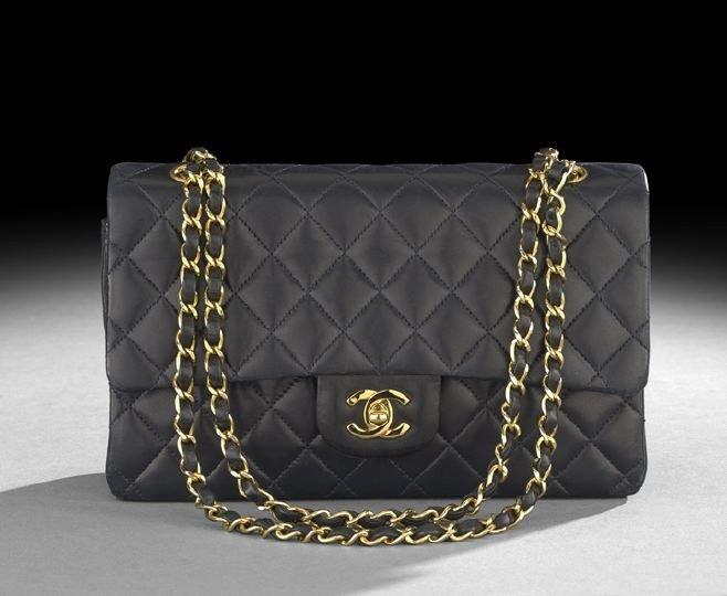 "1327: Chanel Dark Navy Lambskin ""2.55"" Flap Handbag"