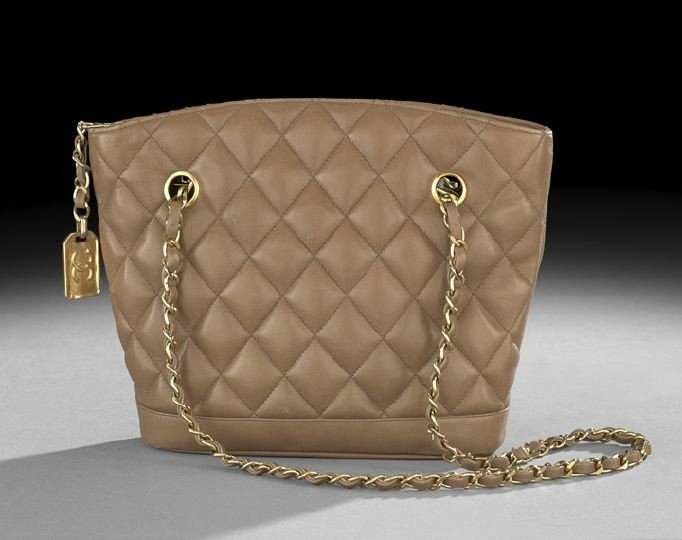 1330: Chanel Taupe Quilted Lambskin Shoulder Bag