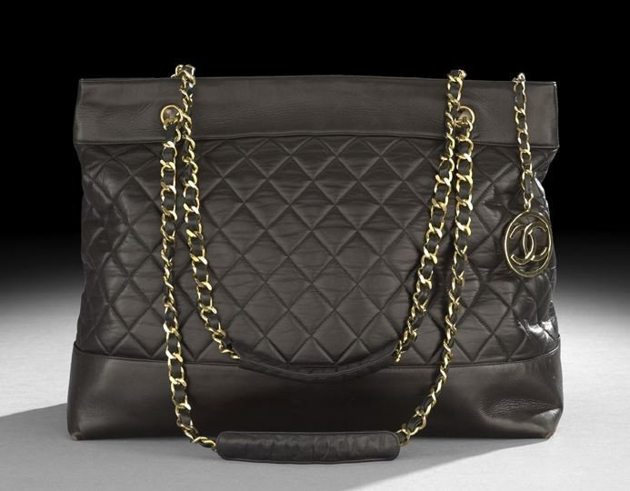 1331: Chanel Black Quilted Lambskin Large Shoulder Bag