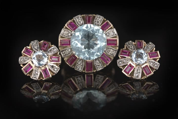 1371: Suite of 14 Kt., Aquamarine & Diamond Jewelry