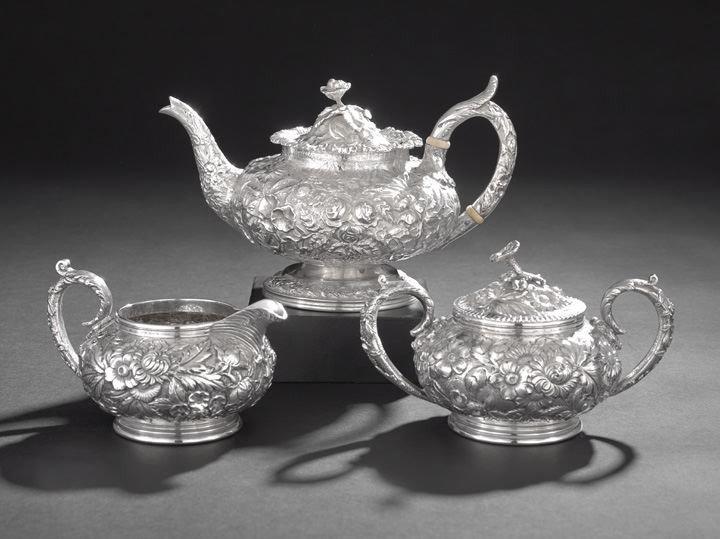 1603: Three-Piece Sterling Silver Baltimore Tea Set