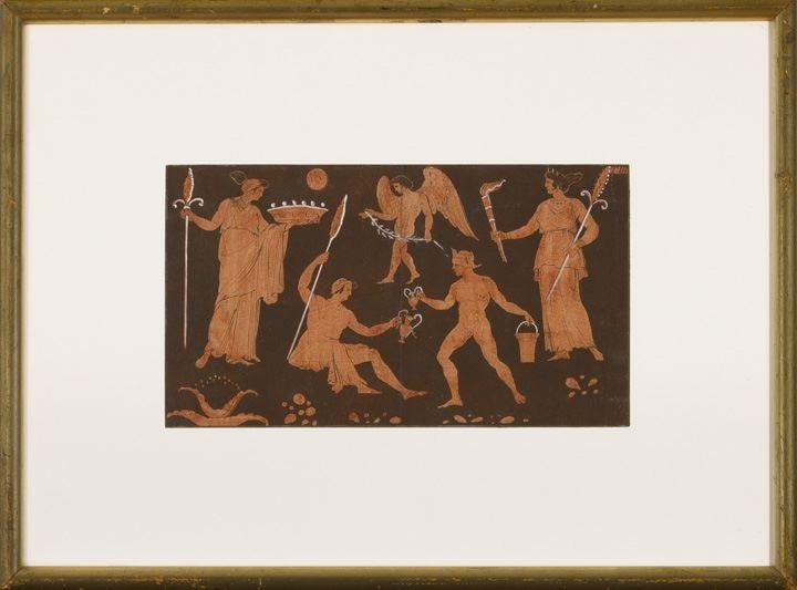 1: Italian Red Figure Panel of Classical Figures