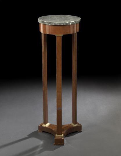 18: Empire Mahogany and Marble-Top Pedestal Table