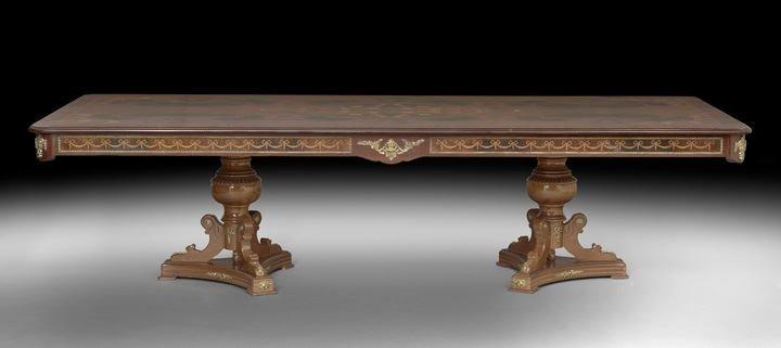 20: Empire-Style Mahogany and Burl Wood Banquet Table