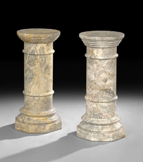 22: Pair of Neoclassical-Style Marble Pedestals