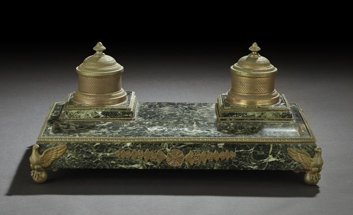 24: French Brass and Marble Standish