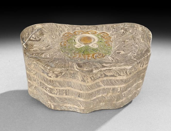 302: Rare Chinese Marbleized and Molded Pottery Pillow
