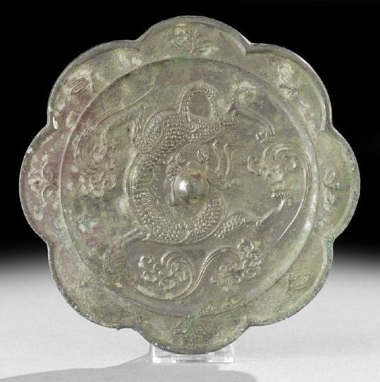 321: Chinese Cast-Silvered-Bronze Hand Mirror