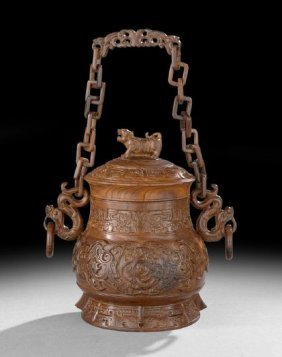Chinese Rosewood Wine Vessel With Chain