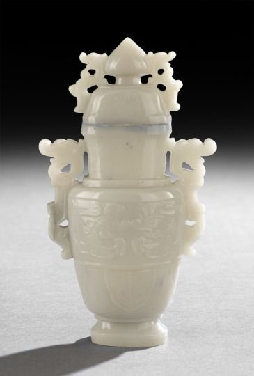 387: Chinese Carved Grayish-White Jade Covered Vase