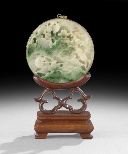 """388: Chinese """"Moss in Melting Snow"""" Carved Pendant"""