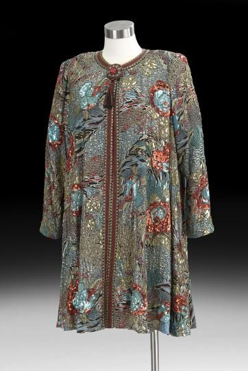 816: Diane Freis Beaded & Sequined Evening Swing Coat