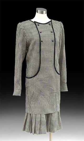 847: Valentino Black and White Wool Check Chemise